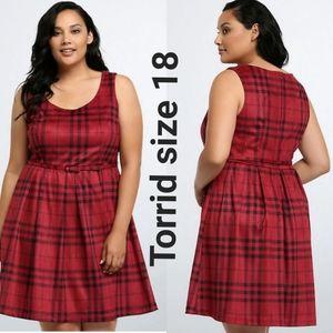 Torrid Rebel Red Plaid Velvet Skater Dress Size 18